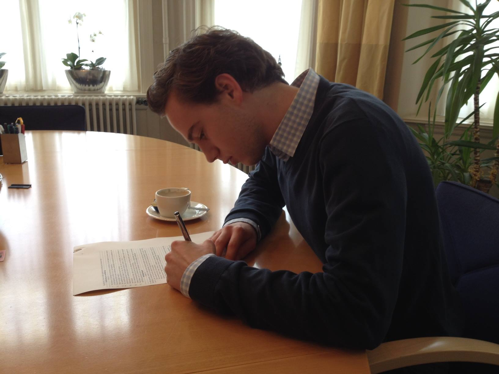 Chairman Thed Brouwer signing for the establishment of the Foundation on March 18, 2014